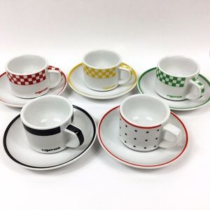 Set of 5 Vintage Classic Espresso Cups Checkered
